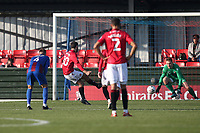 Adam Phillips of Morecambe scores the first goal for his team and celebrates during Maldon & Tiptree vs Morecambe, Emirates FA Cup Football at the Wallace Binder Ground on 8th November 2020