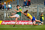 Seán O'Shea, Kerry, in action against Cian O Dea, Clare, during the Munster Football Championship game between Kerry and Clare at Fitzgerald Stadium, Killarney on Saturday.