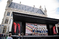 Intermarché-Wanty- Gobert Matériaux team presentation at the start<br /> <br /> 55th Grote Prijs Jef Scherens - Rondom Leuven 2021 (BEL)<br /> <br /> One day race from Leuven to Leuven (190km)<br /> ridden over the final circuit of the 2021 World Championships road races <br /> <br /> ©kramon