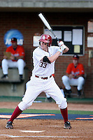Cameron Seitzer of the Oklahoma Sooners playing in Game Two of the NCAA Super Regional tournament against the Virginia Cavaliers at Charlottesville, VA - 06/13/2010. Oklahoma defeated Virginia, 10-7, to tie the series after two games.  Photo By Bill Mitchell / Four Seam Images