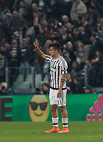 Calcio, andata degli ottavi di finale di Champions League: Juventus vs Bayern Monaco. Torino, Juventus Stadium, 23 febbraio 2016. <br /> Juventus' Paulo Dybala celebrates after scoring during the Champions League first leg round of 16 football match between Juventus and Bayern at Turin's Juventus Stadium, 23 February 2016.<br /> UPDATE IMAGES PRESS/Isabella Bonotto
