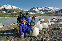 Tourist family in Nellie Juan Lagoon, Prince William Sound, Alaska.