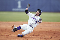 Joe Johnson (15) of the High Point Panthers slides into third base during the game against the Bryant Bulldogs at Williard Stadium on February 21, 2021 in  Winston-Salem, North Carolina. The Panthers defeated the Bulldogs 3-2. (Brian Westerholt/Four Seam Images)