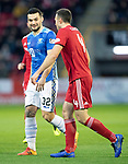 Aberdeen v St Johnstone…08.12.18…   Pittodrie    SPFL<br />Tony Watt has words with Andrew Considine after being fouled<br />Picture by Graeme Hart. <br />Copyright Perthshire Picture Agency<br />Tel: 01738 623350  Mobile: 07990 594431