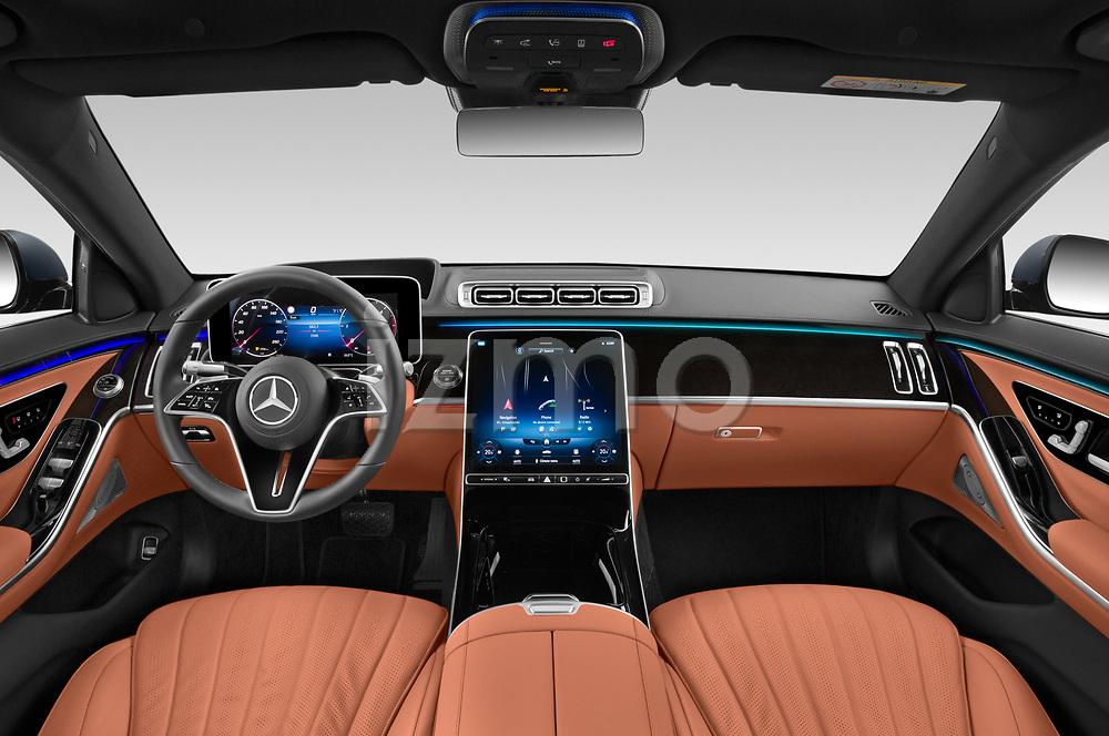 Stock photo of straight dashboard view of 2021 Mercedes Benz S-Class - 4 Door Sedan Dashboard