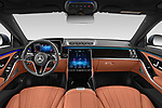 Stock photo of straight dashboard view of 2021 Mercedes Benz S-Class - 4 Door Sedan Dashboard