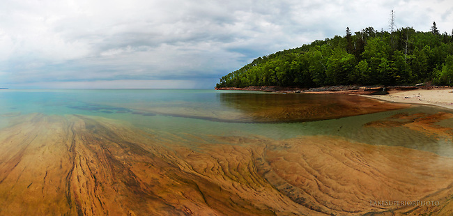 miner's beach, miners beach, pictured rocks, prnl, lake superior, clear water, clean water, water, sand, sandstone, texture, pano, panorama