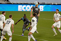 ST PAUL, MN - NOVEMBER 4: Jose Aja #4 of Minnesota United FC heads the ball during a game between Chicago Fire and Minnesota United FC at Allianz Field on November 4, 2020 in St Paul, Minnesota.