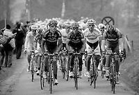 Liège-Bastogne-Liège 2013..BMC & Movistar set the pace up the Côte de Stockeu (Stèle Eddy Merckx)