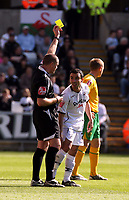 ATTENTION SPORTS PICTURE DESK<br /> Pictured: Referee G Salisbury (L) showing a yellow car to Leon Britton of Swansea (2nd L)<br /> Re: Coca Cola Championship, Swansea City FC v Norwich City FC at the Liberty Stadium Swansea, south Wales. Saturday 11 April 2009.<br /> Picture by D Legakis Photography / Athena Picture Agency, Swansea 07815441513