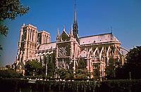 Notre-Dame de Paris, referred to simply as Notre-Dame, a medieval Catholic cathedral on the Île de la Cité in the 4th arrondissement of Paris.