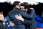 Coach Santiago Solari of Real Madrid and coach Miguel Angel Sanchez Munoz of Rayo Vallecano during La Liga match between Real Madrid and Rayo Vallecano at Santiago Bernabeu Stadium in Madrid, Spain. December 15, 2018. (ALTERPHOTOS/Borja B.Hojas)