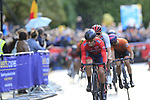 Tobias Foss (NOR) leads the chase into Harrogate for the first time during the Men U23 Road Race of the UCI World Championships 2019 running 186.9km from Doncaster to Harrogate, England. 27th September 2019.<br /> Picture: Eoin Clarke | Cyclefile<br /> <br /> All photos usage must carry mandatory copyright credit (© Cyclefile | Eoin Clarke)
