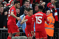 Philippe Coutinho of Liverpool (centre) celebrates scoring his team's first goal against Manchester City to make it 1-1 with Daniel Sturridge of Liverpool (right) during the Capital One Cup match between Liverpool and Manchester City at Wembley Stadium, London, England on 28 February 2016. Photo by David Horn / PRiME Media Images.