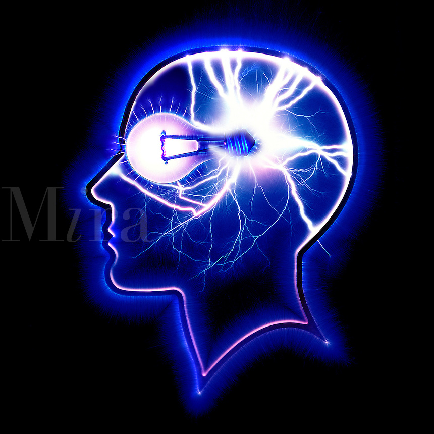 Head in profile with lightbulb and electrical activity.