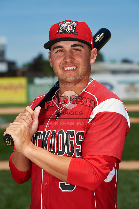 Batavia Muckdogs outfielder Alex Fernandez (5) poses for a photo before the teams first practice on June 15, 2016 at Dwyer Stadium in Batavia, New York.  (Mike Janes/Four Seam Images)