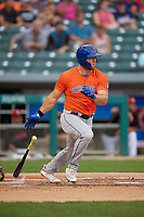 Syracuse Mets Tim Tebow (15) at bat during an International League game against the Indianapolis Indians on July 16, 2019 at Victory Field in Indianapolis, Indiana.  Syracuse defeated Indianapolis 5-2  (Mike Janes/Four Seam Images)