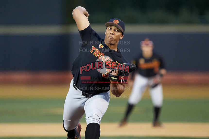 USC Trojans relief pitcher Solomon Bates (32) in action against the Wake Forest Demon Deacons at David F. Couch Ballpark on February 24, 2017 in  Winston-Salem, North Carolina.  The Demon Deacons defeated the Trojans 15-5.  (Brian Westerholt/Four Seam Images)
