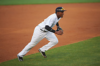 Tampa Yankees third baseman Miguel Andujar (27) during a game against the Dunedin Blue Jays on April 19, 2016 at George M. Steinbrenner Field in Tampa, Florida.  Tampa defeated Dunedin 12-7.  (Mike Janes/Four Seam Images)