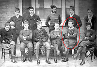 BNPS.co.uk (01202 558833)<br /> Pic: Pen&SwordBooks/BNPS<br /> <br /> Pictured: The Royal Engineers after the 1872 final. Lieutenant George Barker (circled). <br /> <br /> A historian believes he has uncovered a previously unknown participant in the first ever FA Cup final.<br /> <br /> James Bancroft is convinced Lieutenant George Barker represented the Royal Engineers in the 1872 final against the Wanderers.<br /> <br /> However, he is not listed in any official records or football books written about the showpiece occasion.<br /> <br /> Mr Bancroft said he has found newspaper reports with Lt Barker on the team-sheet and he appears in full kit in the Royal Engineers post-match team photo.<br /> <br /> He outlines his theory in his new book, The Early Years of the FA Cup, which charts the rise and fall of the Royal Engineers, the only military team to win the trophy.