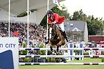 August 07, 2009: Charlie Jayne (USA) aboard Urbanus clear the 2nd fence. Meydan FEI Nations Cup. Failte Ireland Horse Show. The RDS, Dublin, Ireland.