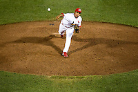 Jorge Rondon (40) of the Springfield Cardinals delivers a pitch during a game against the Tulsa Drillers at Hammons Field on July 18, 2011 in Springfield, Missouri. Tulsa defeated Springfield 13-8. (David Welker / Four Seam Images)