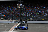 Verizon IndyCar Series<br /> Indianapolis 500 Race<br /> Indianapolis Motor Speedway, Indianapolis, IN USA<br /> Sunday 28 May 2017<br /> Takuma Sato, Andretti Autosport Honda crosses the finish line and the yard of bricks under the checkered flag for the win. <br /> World Copyright: Scott R LePage<br /> LAT Images<br /> ref: Digital Image lepage-170528-indy-10494