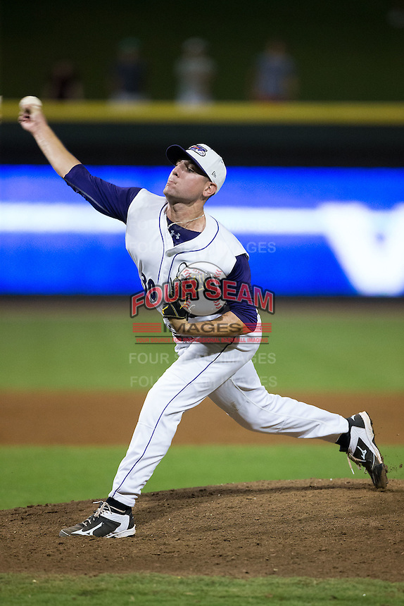 Winston-Salem Dash relief pitcher Brad Goldberg (30) delivers a pitch to the plate against the Myrtle Beach Pelicans at BB&T Ballpark on September 9, 2015 in Winston-Salem, North Carolina.  The Dash defeated the Pelicans 4-2 to take a 1-0 lead in the best of 3 series. (Brian Westerholt/Four Seam Images)
