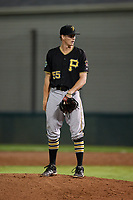 Bristol Pirates relief pitcher Vince Deyzel (55) looks in for the sign during the second game of a doubleheader against the Bluefield Blue Jays on July 25, 2018 at Bowen Field in Bluefield, Virginia.  Bristol defeated Bluefield 5-2.  (Mike Janes/Four Seam Images)