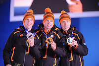 OLYMPICS: SOCHI: Medal Plaza, 09-02-2014, medaille uitreiking, 5000m Men, Jan Blokhuijsen (NED), Sven Kramer (NED), Jorrit Bergsma (NED), ©foto Martin de Jong