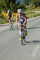 Frederik Van Lierde in the lead from Anthony Pannier climbing the Col de l'Ecre at Ironman France 2012, Nice, France, 24 June 2012