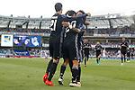 Real Madrid's Alvaro Morata, Marco Asensio and Marcelo Vieira celebrate goal during La Liga match. August 21,2016. (ALTERPHOTOS/Acero)