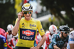 Race leader Yellow Jersey Mathieu Van Der Poel (NED) Alpecin-Fenix lines up for the start of Stage 3 of the 2021 Tour de France, running 182.9km from Lorient to Pontivy, France. 28th June 2021.  <br /> Picture: A.S.O./Pauline Ballet | Cyclefile<br /> <br /> All photos usage must carry mandatory copyright credit (© Cyclefile | A.S.O./Pauline Ballet)