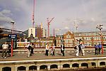 People waiting at Train-station London Bridge, London, England, United Kingdom, Great Britain