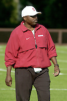 Wayne Moses coaches on the first day of spring practice on April 3, 2002 at Stanford.<br />Photo credit mandatory: Gonzalesphoto.com