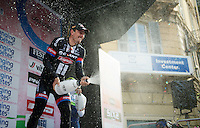 race winner John Degenkolb (DEU/Giant-Alpecin) victoriously with champaign on the podium<br /> <br /> 106th Milano - San Remo 2015