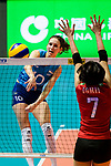 Anahi Florencia Tosi of Argentina (L) attacks during the FIVB Volleyball Nations League Hong Kong match between Japan and Argentina on May 31, 2018 in Hong Kong, Hong Kong. Photo by Marcio Rodrigo Machado / Power Sport Images