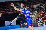 Lukas Saueressig (HBW Balingen #26) ; li: Adam Loenn (TVB Stuttgart #11) ; BGV Handball Cup 2020 Halbfinaltag: TVB Stuttgart vs. HBW Balingen-Weilstetten am 11.09.2020 in Ludwigsburg (MHPArena), Baden-Wuerttemberg, Deutschland<br /> <br /> Foto © PIX-Sportfotos *** Foto ist honorarpflichtig! *** Auf Anfrage in hoeherer Qualitaet/Aufloesung. Belegexemplar erbeten. Veroeffentlichung ausschliesslich fuer journalistisch-publizistische Zwecke. For editorial use only.