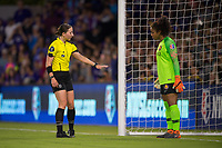 Orlando, FL - Saturday March 24, 2018: The referee gives instruction to Utah Royals goalkeeper Abby Smith (1) during a regular season National Women's Soccer League (NWSL) match between the Orlando Pride and the Utah Royals FC at Orlando City Stadium. The game ended in a 1-1 draw.