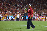 LOS ANGELES, CA - SEPTEMBER 11: Diron Reynolds of the Stanford Cardinal calls out to the defense during a game between University of Southern California and Stanford Football at Los Angeles Memorial Coliseum on September 11, 2021 in Los Angeles, California.
