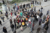 Pictured: A scuffle breaks out between migrants and police at the gate of the camp Monday 06 February 2017<br /> Re: Scuffles between migrants and police broke out during a visit by Immigration Policy Minister Yiannis Mouzalas at the Elliniko migrant camp located in the former airport in the outskirts of Athens, Greece.