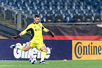 FOXBOROUGH, MA - SEPTEMBER 1: Yannik Oettl #70 of New England Revolution II takes a goal kick during a game between FC Tucson and New England Revolution II at Gillette Stadium on September 1, 2021 in Foxborough, Massachusetts.