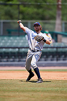 Pensacola Blue Wahoos third baseman Taylor Sparks (27) throws to first base during a game against the Mobile BayBears on April 26, 2017 at Hank Aaron Stadium in Mobile, Alabama.  Pensacola defeated Mobile 5-3.  (Mike Janes/Four Seam Images)