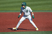 Jack Dragum (6) of the Charlotte 49ers takes his lead off of second base against the Florida Atlantic Owls at Hayes Stadium on April 2, 2021 in Charlotte, North Carolina. The 49ers defeated the Owls 9-5. (Brian Westerholt/Four Seam Images)