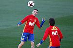 Spain's Iago Aspas (l) and David Jimenez Silva during training session. March 20,2017.(ALTERPHOTOS/Acero)