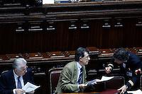 Il presidente del Consiglio Mario Monti, e  Il Ministro per i Rapporti con il Parlamento Piero Giarda.Roma 26/05/2012 Camera dei Deputati - Informativa del Governo sulla politica europea dell'Italia in vista del Consiglio europeo..Foto Serena Cremaschi Insidefoto