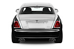 Straight rear view of a 2019 Rollsroyce ghostsd1ra Base 4 Door Sedan stock images