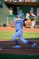 Josh McLain (15) of the Ogden Raptors bats against the Grand Junction Rockies at Lindquist Field on June 15, 2019 in Ogden, Utah. The Raptors defeated the Rockies 12-11. (Stephen Smith/Four Seam Images)