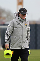 Assistant coach Kris Van Der Haegen pictured during the training session of the Belgian Women's National Team ahead of a friendly female soccer game between the national teams of Germany and Belgium , called the Red Flames in a pre - bid tournament called Three Nations One Goal with the national teams from Belgium , The Netherlands and Germany towards a bid for the hosting of the 2027 FIFA Women's World Cup ,on 19th of February 2021 at Proximus Basecamp. PHOTO: SEVIL OKTEM | SPORTPIX.BE