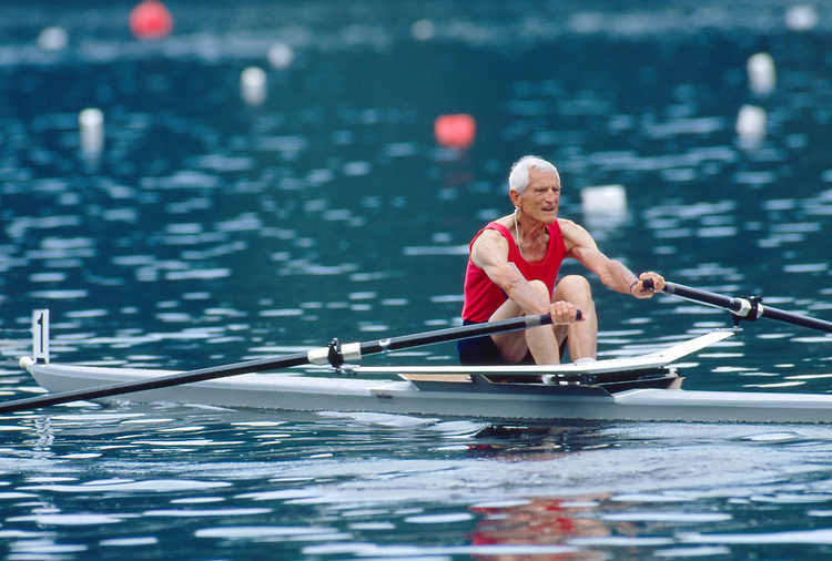 Rowing, Cam Jones, masters rower rowing a single racing shell at full pressure at 80 years old, he is a member of the Lake Merritt Rowing Club .